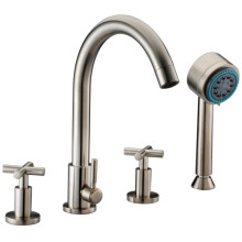 4-Hole Tub Filler with Personal Handshower and Cross Handles