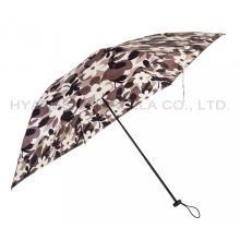 Быстрое открытие печатный для женщин 3 складной зонтик