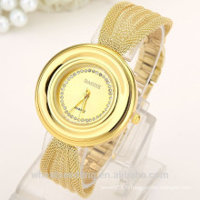 Luxe et mince bande en acier inoxydable montre bracelet en or pour femme Lady Watch