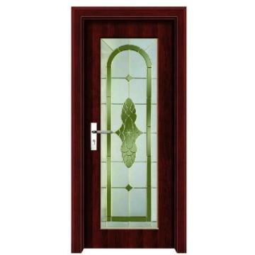 porta de vidro de madeira
