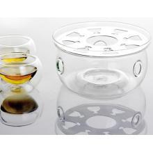 Cristal transparente de forma redonda más caliente de la base para el café de té tetera de flores de pote
