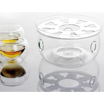 Base de chauffe en forme de verre clair pour thé Pot de café Pot de thé