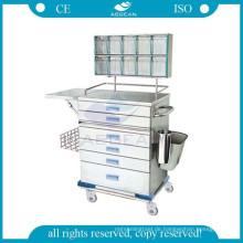 AG-AT015 genehmigt 304 Edelstahl Krankenhaus Anästhesie medizinische Wagen