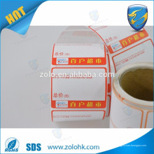 Atacado preço impermeável papel térmico bruto, rolos de papel térmico autoadesivos
