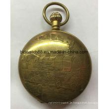 Relógio de bolso barato da liga de quartzo do tamanho grande para mulheres dos homens