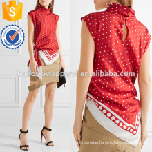 Asymmetric Polka-dot Silk-twill Top Manufacture Wholesale Fashion Women Apparel (TA4149B)
