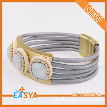 Competitive Gray Leather Rope Bracelet For Gay
