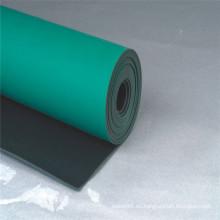 Hoja de goma de ESD, estera de goma de ESD, hoja de goma antiestática con color verde, azul, gris, negro