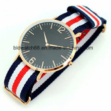 Stainless Steel Ladies Slim Nylon Band Watch Rose Gold