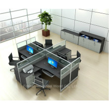 Modern Freestanding Office Workstation Glass Partition with Mobile Pedestal (HF-YZQ321)