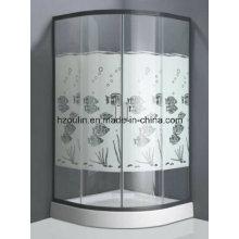 Salle de douche en verre trempé avec design de poisson (design de poisson E-01)