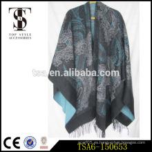 Diseño intemporal peso pesado bufanda de paisley de gran tamaño regalo de Navidad acrílico capes & ponchos