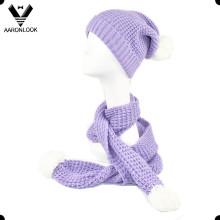 Inverno malha lenço e chapéu com pompom