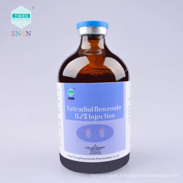 Estradiol Benzoate 0,2% Injection, hormones sexuelles, utilisé pour l'oestrus et le placenta et mortinatalité du fœtus.