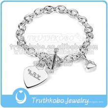 Bracelete personalizado personalizado do encanto do coração do bracelete da jóia do casamento da urna de cinza da cremação