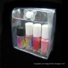 Bolsa de plástico transparente cosméticos bolsa de hasp