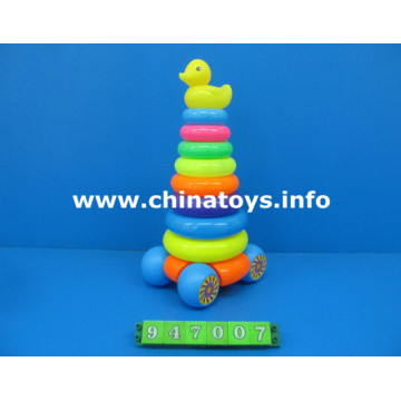 Regalo promocional juguetes de plástico pato arco iris anillos (947007)