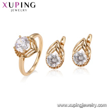 64635 xuping 18k gold plated classical Royal design engagement ring jewelry set for women