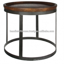 Industrial Metal Round Wooden Top Coffee Table