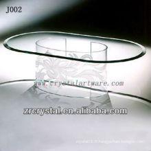 K9 Table ovale en cristal avec une jambe unique