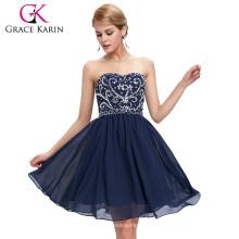 Grace Karin Sexy Damas sin tirantes con cuentas de gasa corta vestido de dama de honor azul marino 2015 CL6049-1