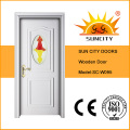 White Color Wooden Door with Glass Insert