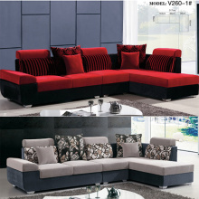 Fabric Upholstered Chaise Lounger Sectional Sofa Set