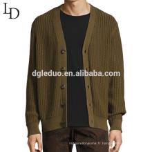 Nouveau design mode v col casual cardigan en coton pull pour les hommes
