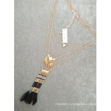 Богемия Multi строки бисер перо кисточкой ожерелье
