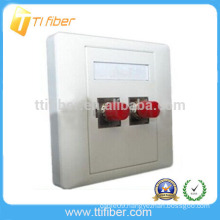 Two Port ST Fiber Optic Faceplate/ Wall Plate