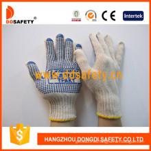 Guantes de punto de hilo de algodón / poliéster Puntos de PVC azul de un lado con logotipo (DKP155)