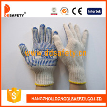 Cotton/Polyester String Knit Gloves Blue PVC Dots One Side with Logo (DKP155)