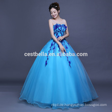 OEM Factory China 2017 Floral Sky Blue Rüschen Quinceanera Ballkleider Ballkleid Formal Party Ballkleid
