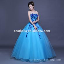 OEM Factory China 2017 Floral Sky Blue Rüschen Quinceanera Ballkleider Ballkleid Formal Party Ballkleid