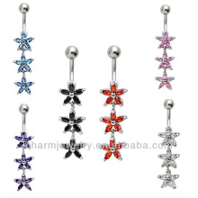 14G Stainless Steel Gems Curved Bar Belly Navel Ring BER-020