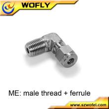 Casquillo del tubo al tornillo externo accesorios de la pipa roscados del acero inoxidable codo masculino