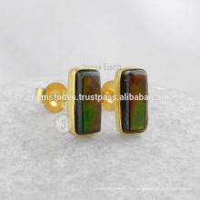 Vente en gros Boucles d'oreilles en gemme Fournisseurs de bijoux Boucles d'oreille à la main Bezel à la main Bijoux