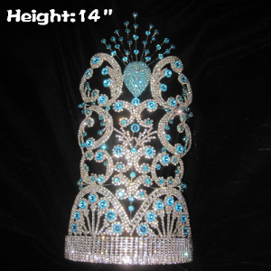 Coronas grandes de 14 pulgadas de altura con diamantes azules