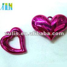vente en gros sombre violet en plastique résine UV placage coeur pendentif