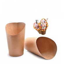Disposable Take Out Single sided scoop Kraft Paper Cup For French Fries Chips Ice Cream Snakes