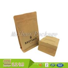 100% Nahrungsmittelgrad kundengebundener recyclebarer Eco Reißverschluss acht seitliche Siegel biologisch abbaubare Papiertüte für Lebensmittelverpackung