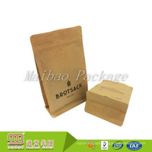 Food Grade Nut Packing Heat Seal Customized Flat Bottom Brown Kraft Paper Bags With Zipper Foil Lined