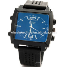 Square dial blue face army silicone wristband watch