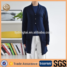 V cou tricoté mongolie conception de pull en laine longue pour fille