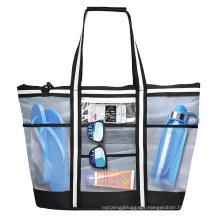 Beach Tote Storage 9 Pockets Top Zipper Organizer 42L Extra Shoulder Straps Large Mesh Beach Bag