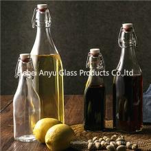 Flip Top Clip Seal Glass Clear Soy Sauce Vinegar Bottle