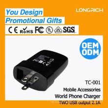 CE, ROHS Aprobado toma de corriente del montaje del panel, ODM / OEM entrega rápida mini cargador del teléfono del coche del usb