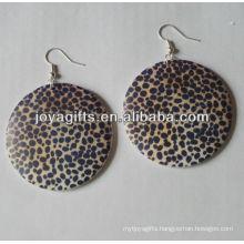 wooden ball earrings drop round shape