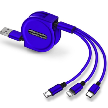 3 In 1 USB Charge Cable for iPhone & Micro USB & USB Type C Retractable Portable Charging Cable For
