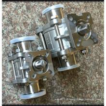 Válvula de esfera trancada de aço inoxidável sanitária de três peças 316